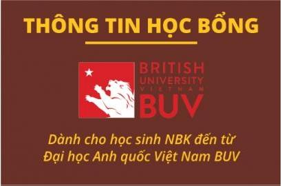 Học bổng đến từ Đại học Anh Quốc BUV dành cho học sinh NBK