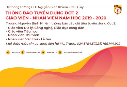 THÔNG BÁO TUYỂN DỤNG NHÂN SỰ ĐỢT 2 NĂM HỌC 2019-2020