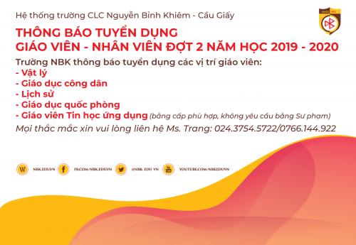 TUYỂN DỤNG GIÁO VIÊN ĐỢT 2 NĂM HỌC 2019-2020