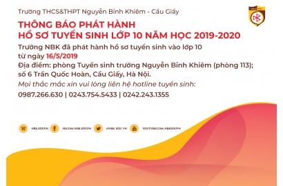 THÔNG BÁO PHÁT HÀNH HỒ SƠ TUYỂN SINH VÀO LỚP 10 NĂM HỌC 2019 - 2020