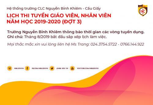 LỊCH THI TUYỂN GIÁO VIÊN, NHÂN VIÊN NĂM HỌC 2019-2020 (ĐỢT 3)