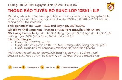 TUYỂN SINH BỔ SUNG HỌC SINH LỚP 10SN1 - ILP