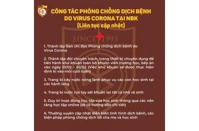 CÔNG TÁC PHÒNG CHỐNG DỊCH VIRUS CORONA TẠI NBK (Liên tục cập nhật)