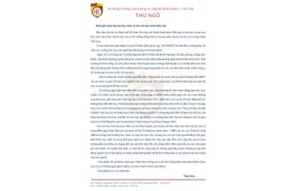 THƯ NGỎ CỦA THÀY CHỦ TỊCH HỘI ĐỒNG QUẢN TRỊ GỬI ĐẾN CHA MẸ HỌC SINH VÀ CÁC CON HỌC SINH TRONG THỜI GIAN NGHỈ PHÒNG DỊCH COVID-19