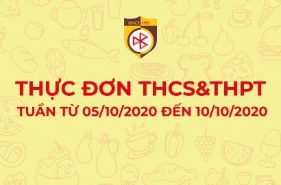 THỰC ĐƠN TIÊU CHUẨN CHO BỮA ĂN BÁN TRÚ  (TUẦN TỪ 05/10/2020 ĐẾN 10/10/2020)