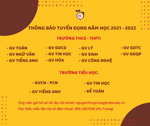 THÔNG BÁO TUYỂN DỤNG GIÁO VIÊN NĂM HỌC 2021 - 2022