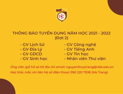 THÔNG BÁO TUYỂN DỤNG GIÁO VIÊN VÀ NHÂN VIÊN NĂM HỌC 2021 - 2022 (ĐỢT 2)