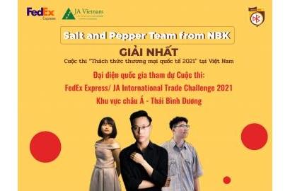 """""""Salt and Pepper Team"""" – Chiến binh NBK xuất sắc đạt Giải nhất Cuộc thi """"Thách thức Thương mại Quốc tế ITC 2021"""""""